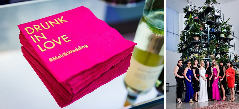 Bright pink custom Drunk in Love cocktail napkins with gold foil for modern art museum wedding
