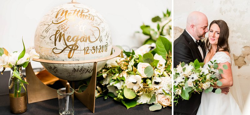 Classic New Years Eve wedding ideas from Richmond Virginia with globe wedding guestbook