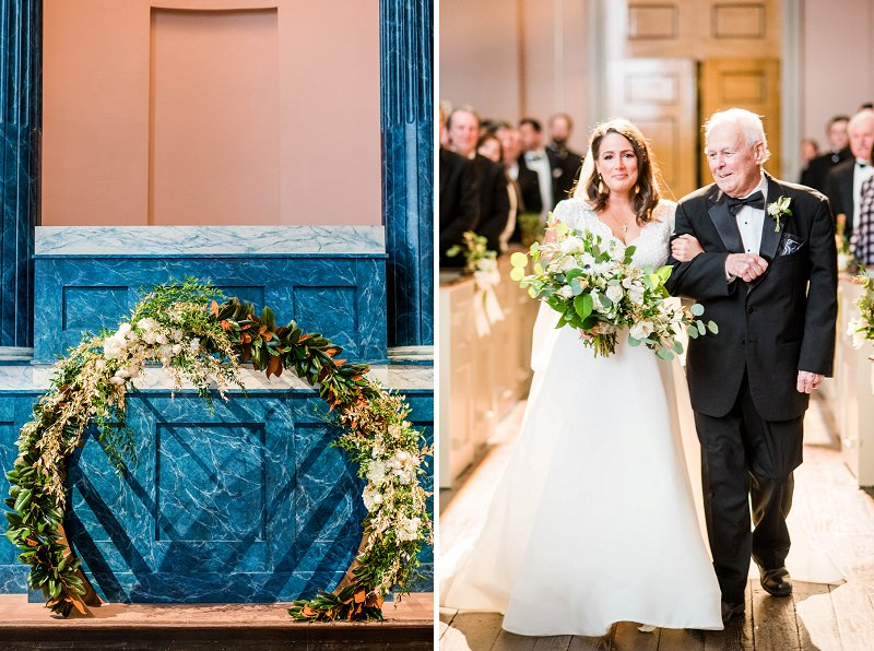 Gorgeous circle wedding arch decorated with magnolia leaves and gold painted greenery for elegant winter wedding