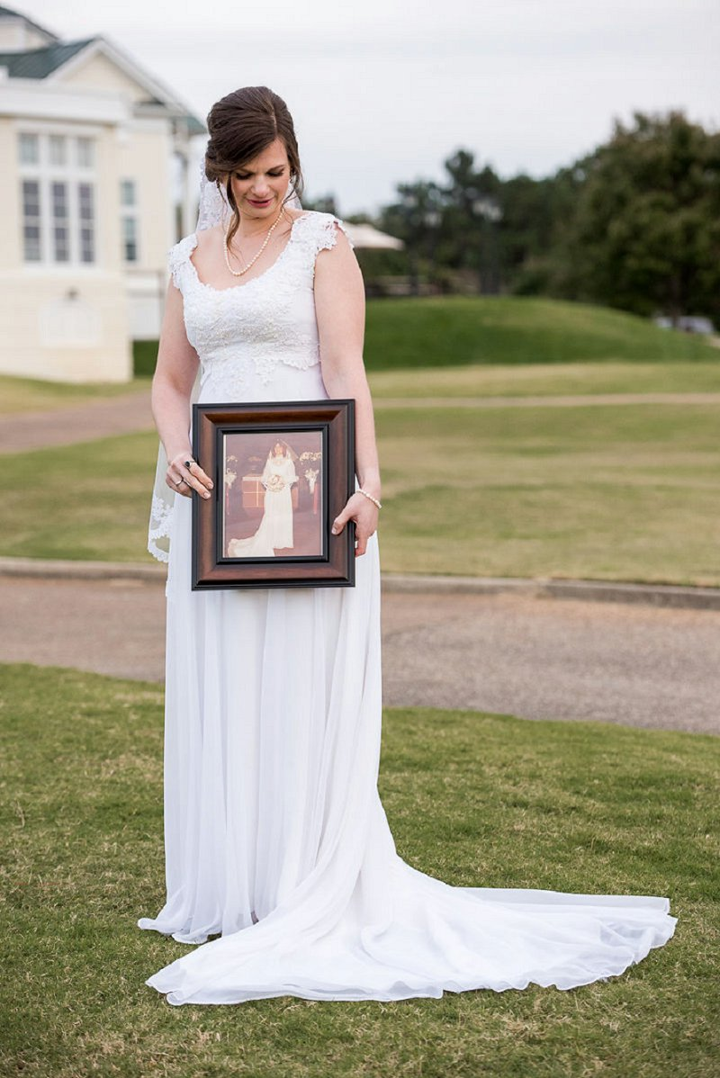 Modern bride wearing her mothers vintage redesigned wedding dress as a beautiful tribute heirloom to a handmade Virginia wedding