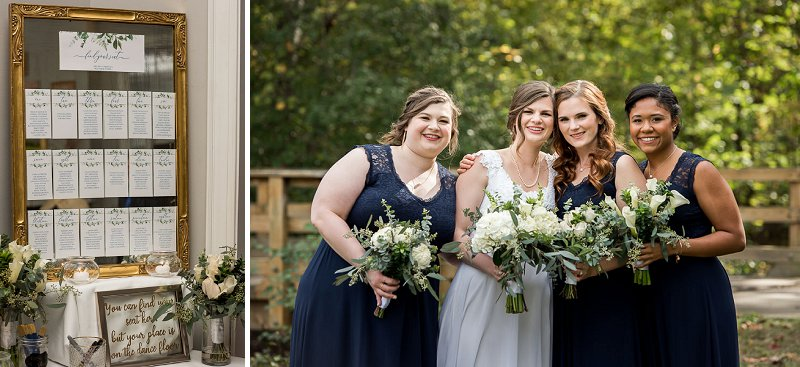 Bridesmaids in navy blue dresses from Amazon for a classic DIY wedding at Independence Golf Club in Richmond Virginia