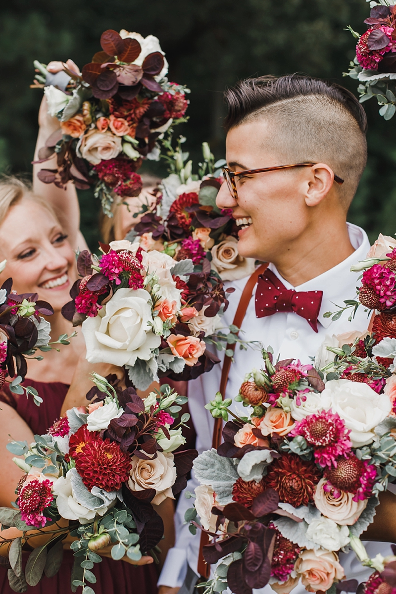 Beautiful wedding portrait idea with bridesmaid bouquets and smiles in Virginia