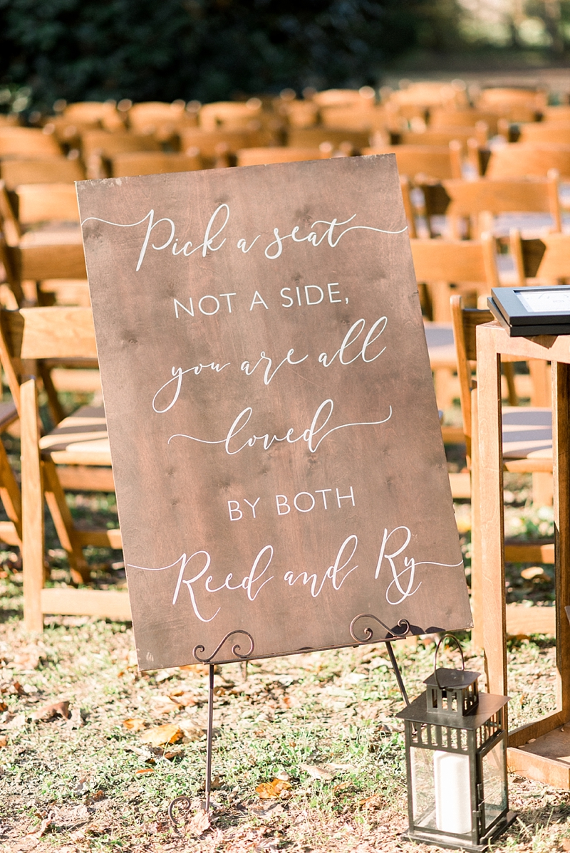 Personalized Pick a Seat Not a Side wooden wedding sign for rustic gay wedding for two grooms