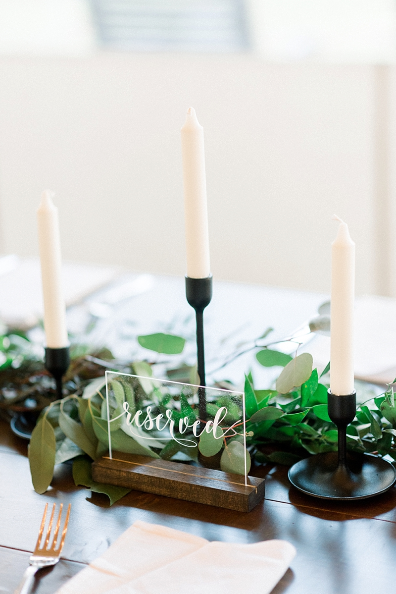 Modern acrylic see through Reserved wedding table sign with dark brown wooden stand for rustic fall wedding in Virginia