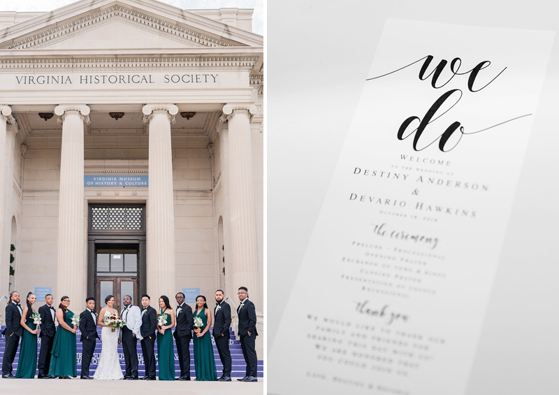 Classic wedding at Virginia Museum of History and Culture in Richmond Virginia
