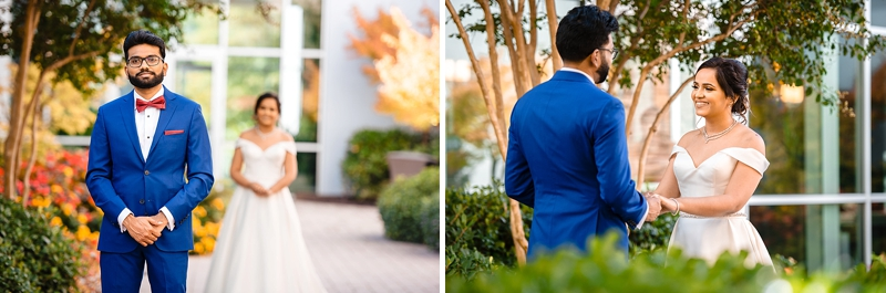 First look moment for bride and groom at St Josephs Villa in Richmond Virginia