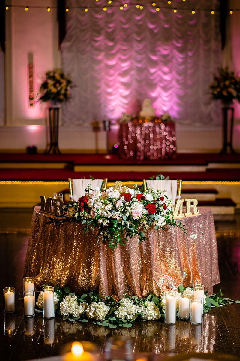 COVID wedding sweetheart table with rose gold sequin tablecloth and candles at The Renaissance wedding venue in Richmond Virginia