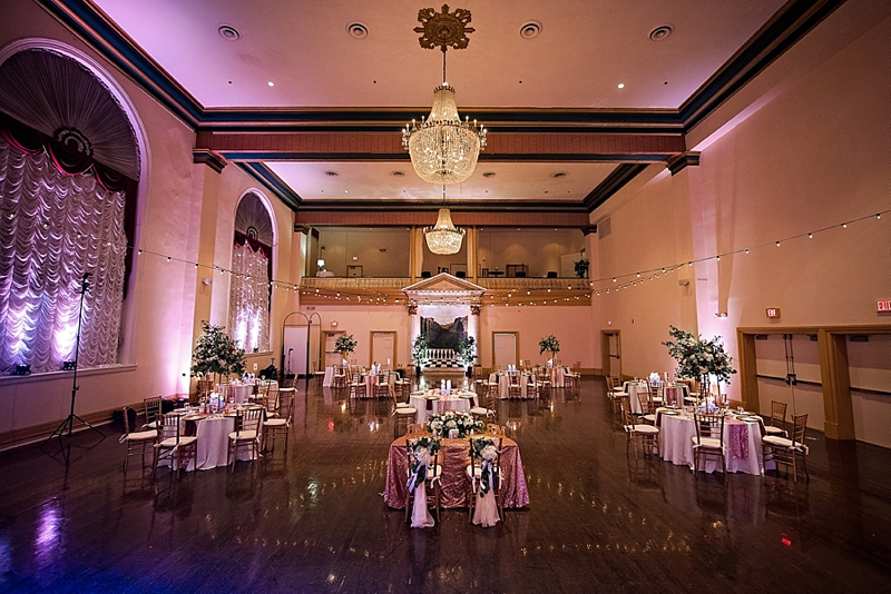 Beautiful COVID socially distanced wedding with guest tables spread out in a ballroom in Richmond Virginia