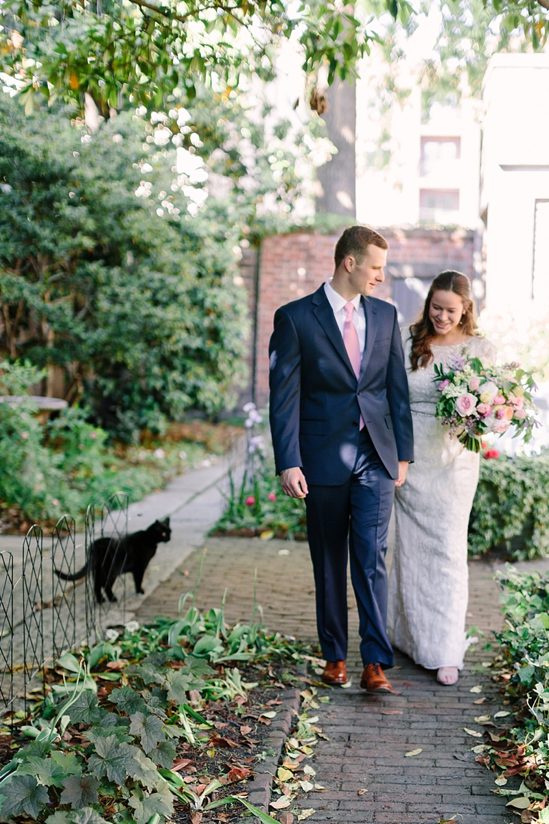 Sweet intimate wedding ceremony with black cat at the Edgar Allen Poe Museum in Richmond Virginia