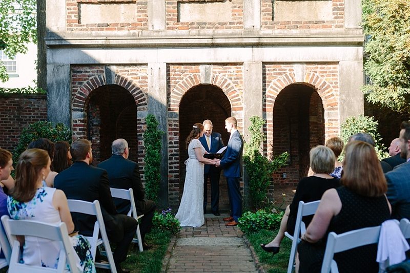 Sweet intimate spring wedding ceremony at the Edgar Allen Poe Museum in Richmond Virginia