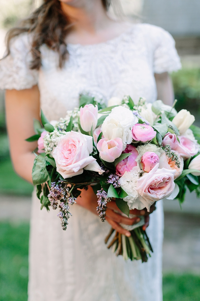 Gorgeous wedding bouquet with pink spring flowers and peonies