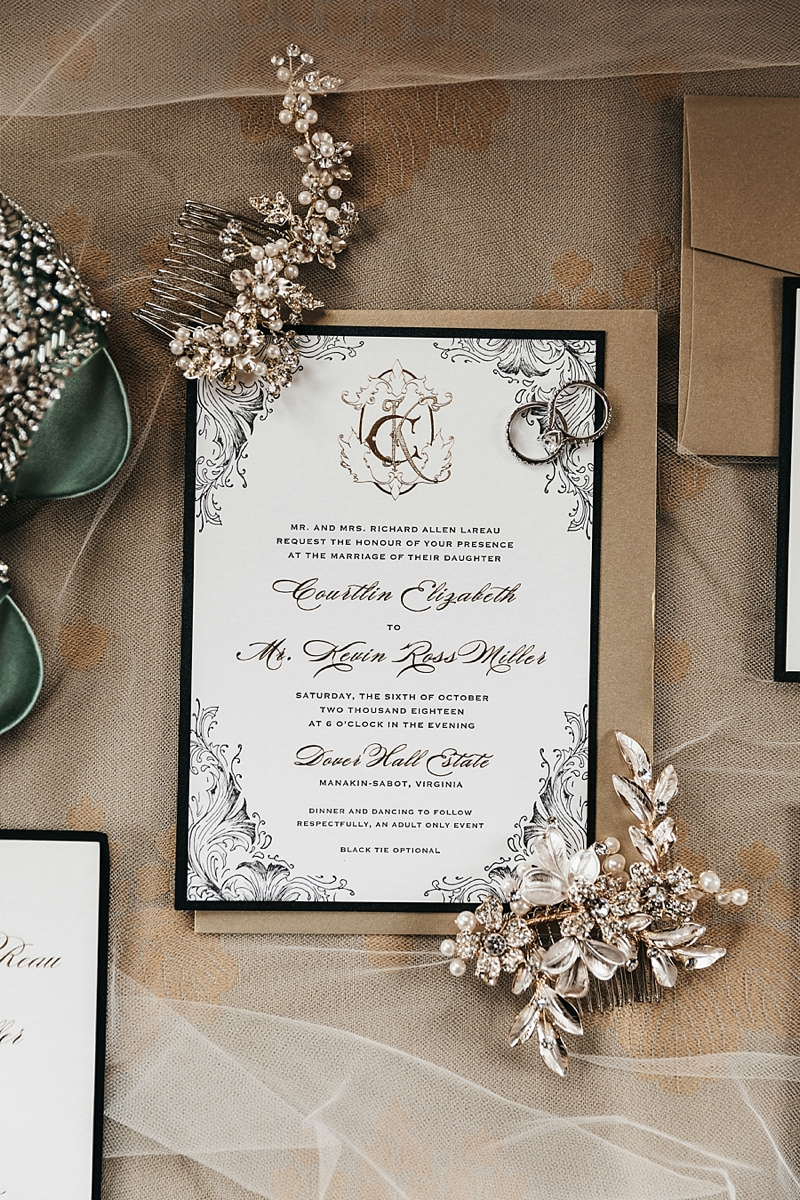 Traditional luxury black and gold wedding invitation with elegant monogram