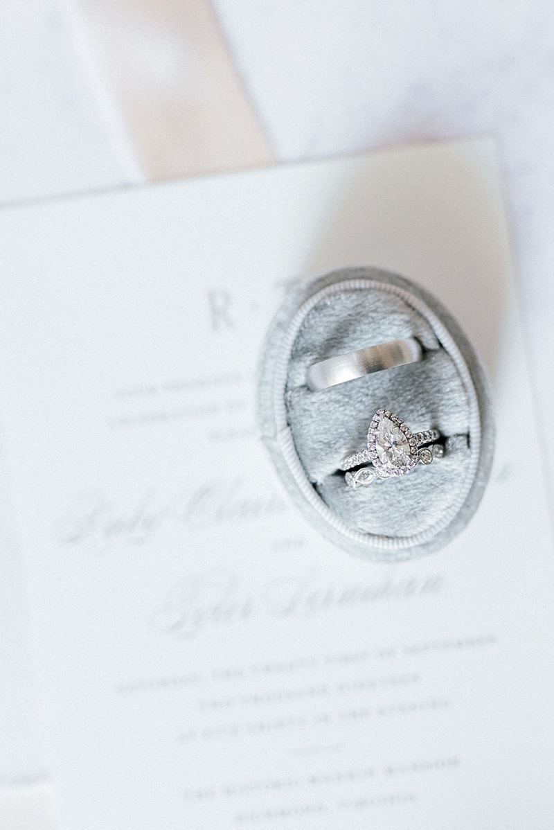 Pear shaped diamond wedding engagement ring in silver gray velvet ring box for classic wedding in Virginia