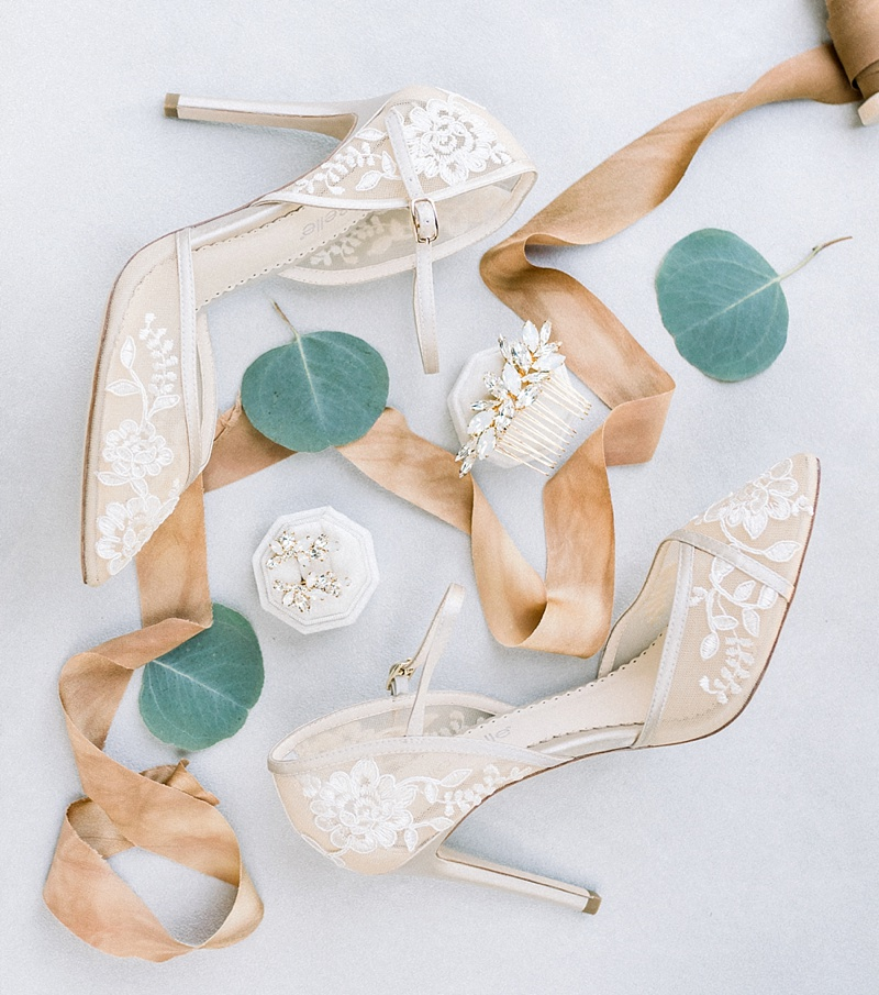 Ivory lace wedding shoes by Bella Belle and opal moonstone bridal comb and earrings for elegant wedding in Virginia