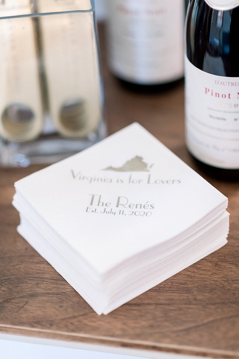 Custom gold and white Virginia is for Lovers wedding cocktail napkins for classic COVID wedding