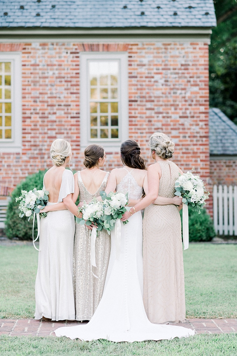 Gorgeous mismatched shimmery champagne gold bridesmaid dresses for outdoor COVID wedding at Seven Springs in Virginia
