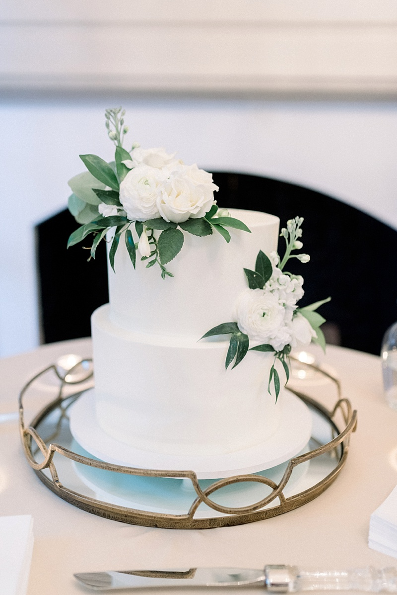 Simple two tier white wedding cake with white floral details for small COVID wedding in Virginia