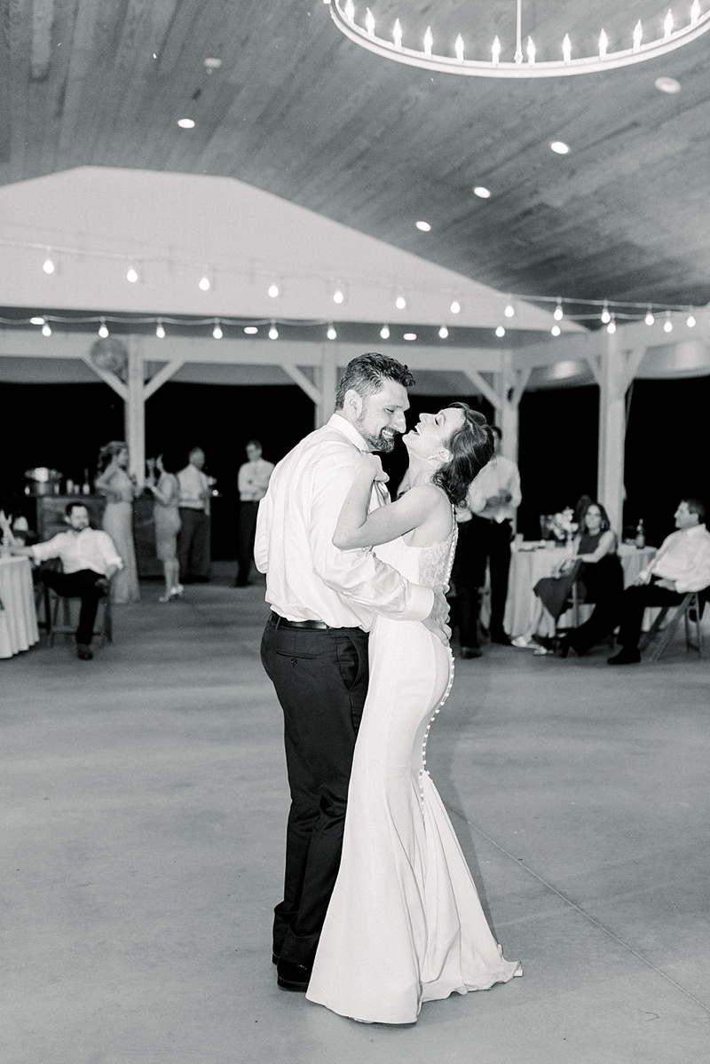 Beautiful first dance moment with bride and groom at their intimate COVID wedding at Seven Springs Virginia