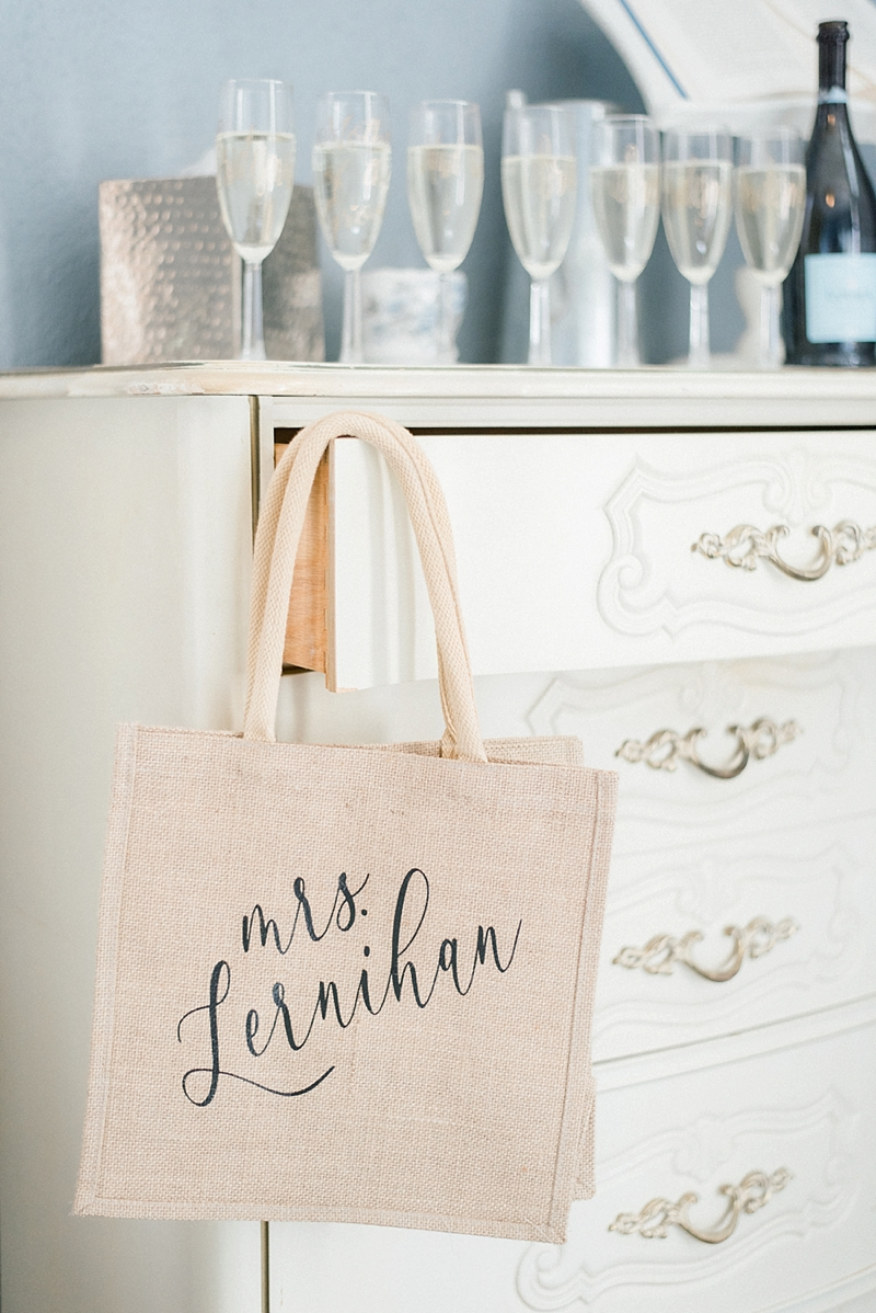 Personalized bridal jute burlap getting ready tote bag for the wedding day made with Cricut Explore Air 2 and black iron on material