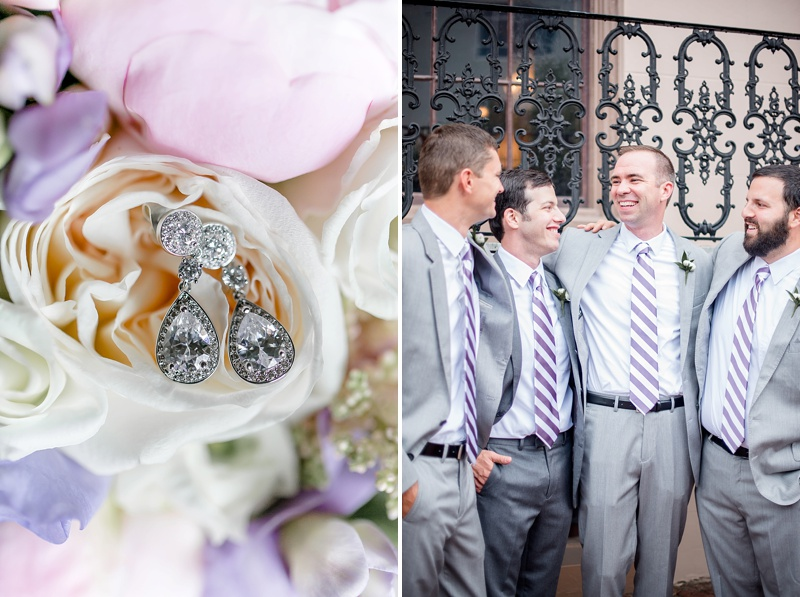 Groomsmen in purple and white striped neckties for preppy Richmond Virginia wedding