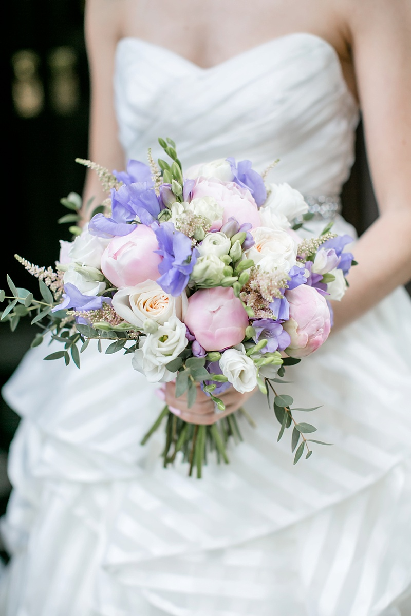 Pink and purple and white bridal bouquet with peonies for preppy wedding