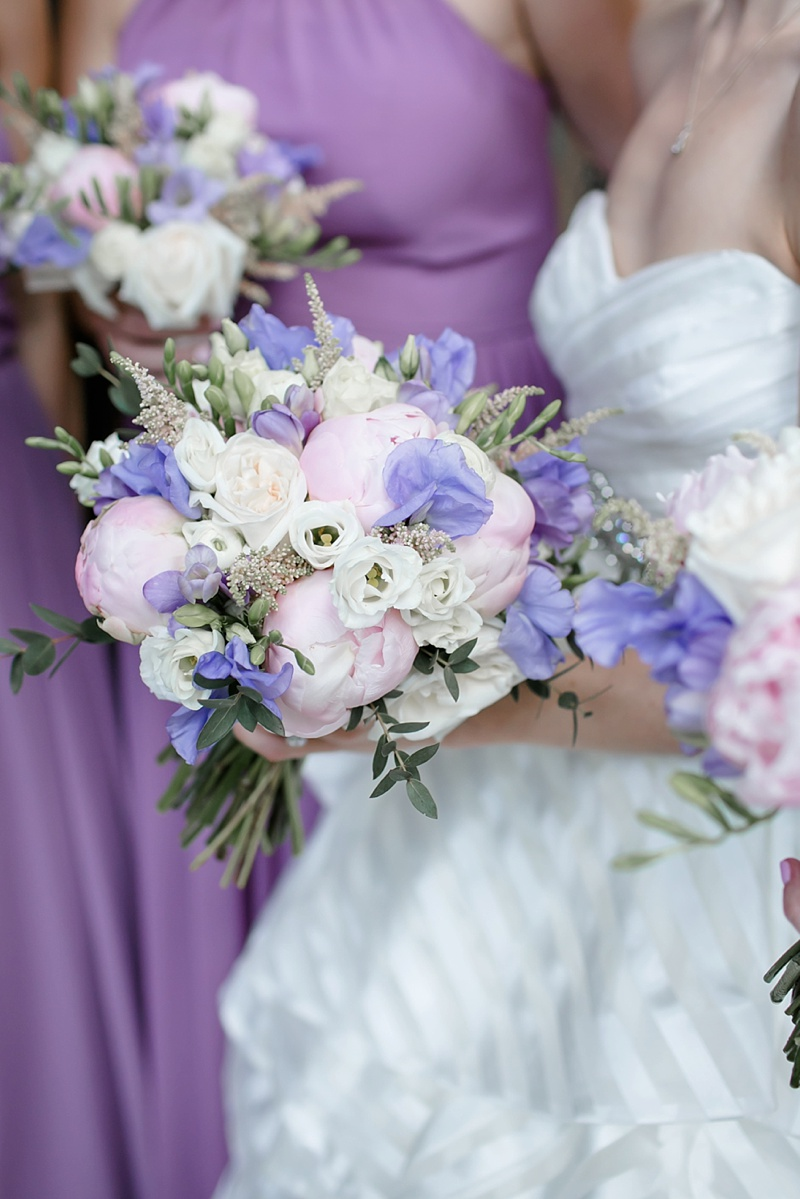 Purple and pink peony wedding bouquet for preppy inspired Virginia wedding