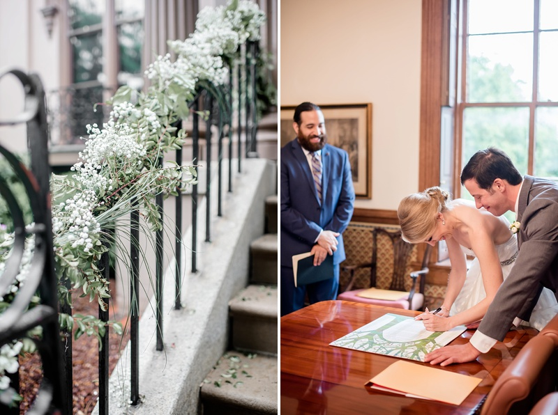 Bride and groom signing their garden inspired ketubah in Richmond Virginia