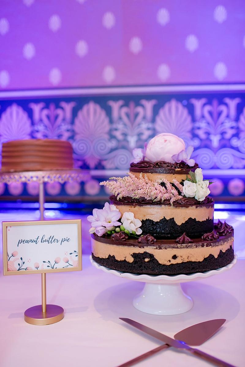 Peanut butter chocolate pie cake for unique wedding dessert