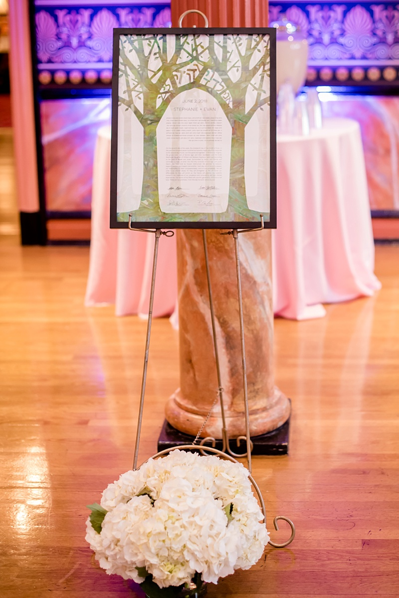 Illustrated custom ketubah with a marbleized tree for Richmond Virginia Jewish wedding
