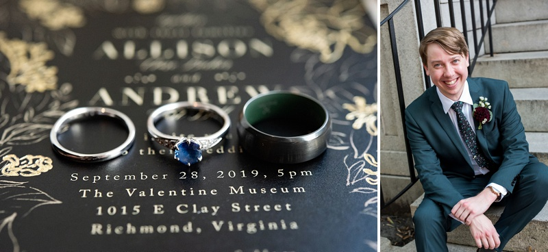Non traditional wedding ring ideas with a sapphire blue engagement ring