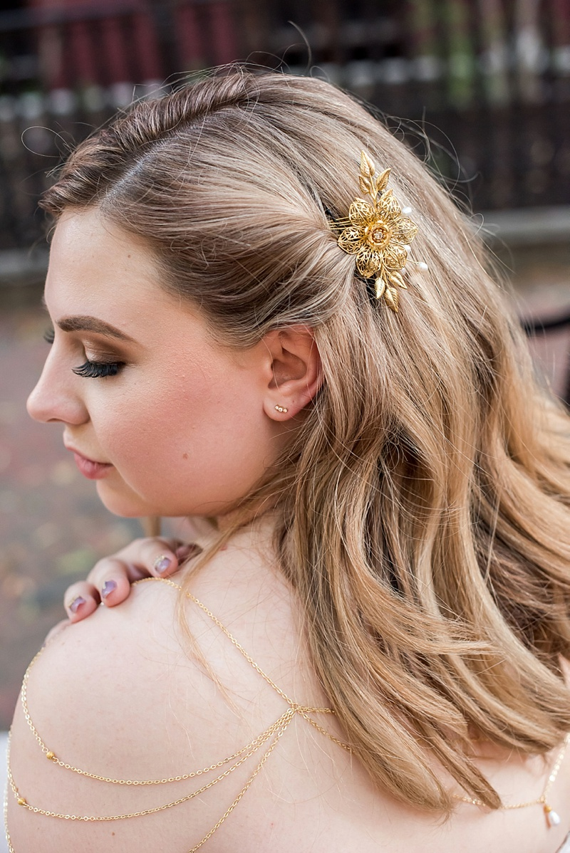 Gorgeous plus size bride with gold hair comb and shoulder chain necklace jewelry for ultra chic vintage modern bridal look