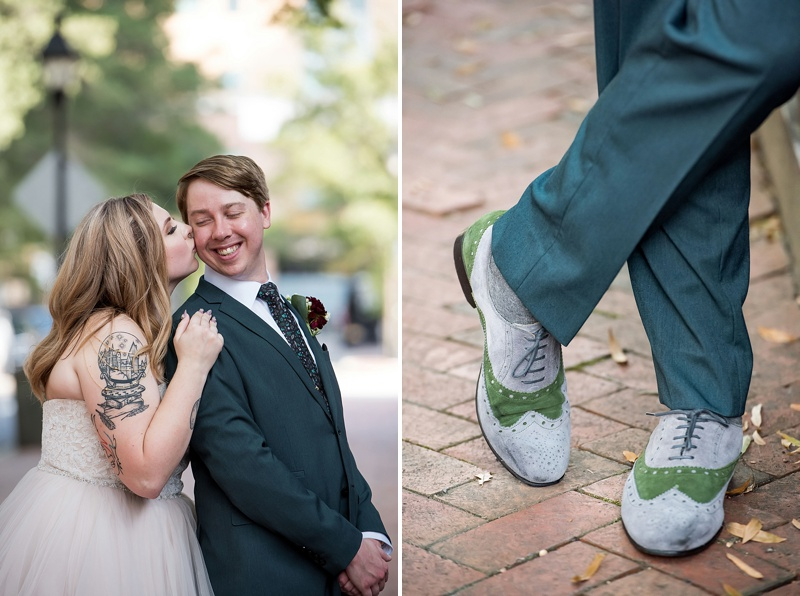 Vintage grey and green inspired loafers for stylish groom shoes for vintage modern wedding day in Richmond Virginia