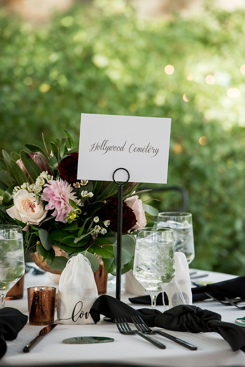 Chic modern wedding reception table decor ideas with black flatware and green agate place cards at the Valentine in Richmond Virginia