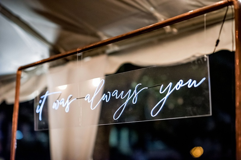 It Was Always You modern neon sign hanging on copper frame for wedding cake dessert table at The Valentine Art Museum in Richmond Virginia