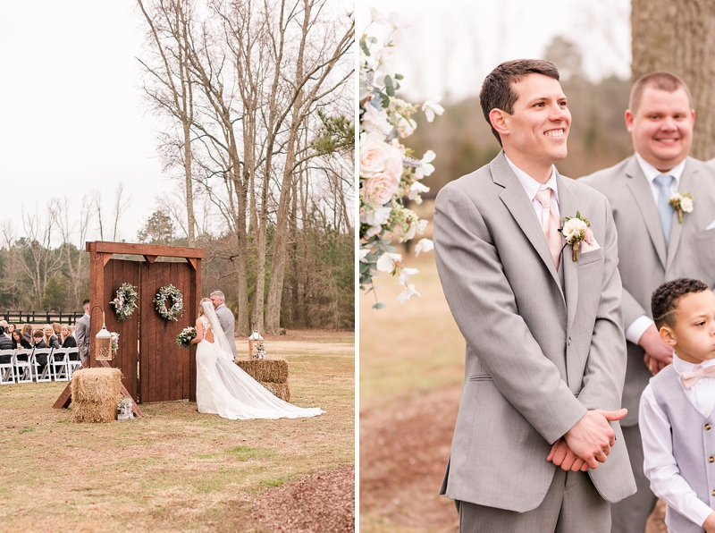 Beautiful rustic outdoor wedding ceremony with barn doors and floral wreaths