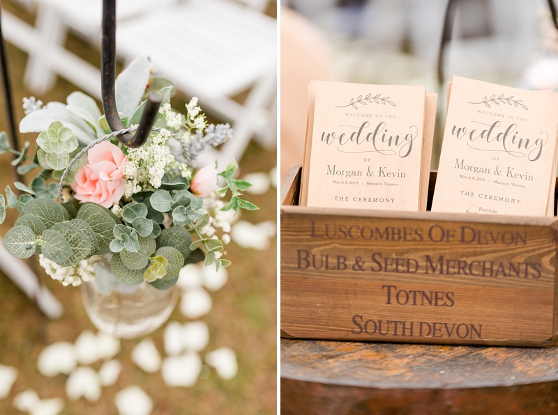 Rustic wedding programs printed on kraft paper for outdoor barn wedding