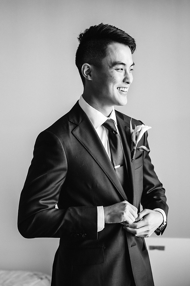 Timeless black and white portrait of Chinese groom getting married in Richmond Virginia