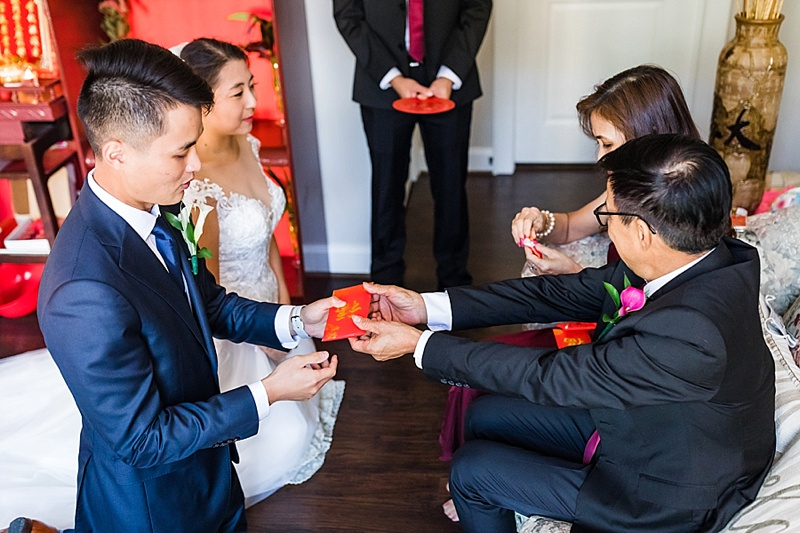 Parents giving their blessing for the bride and grooms union in traditional Chinese tea ceremony with a red envelope