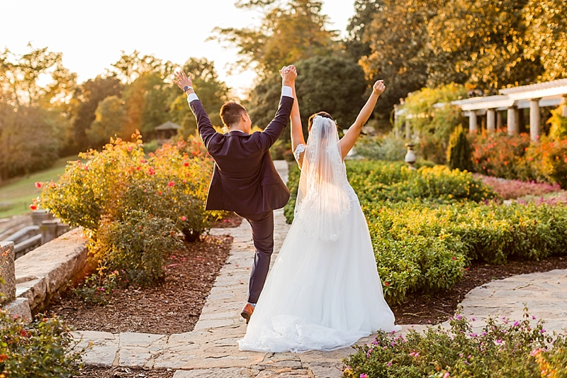 Happy bride and groom moment after their wedding ceremony at Maymont in Richmond Virginia