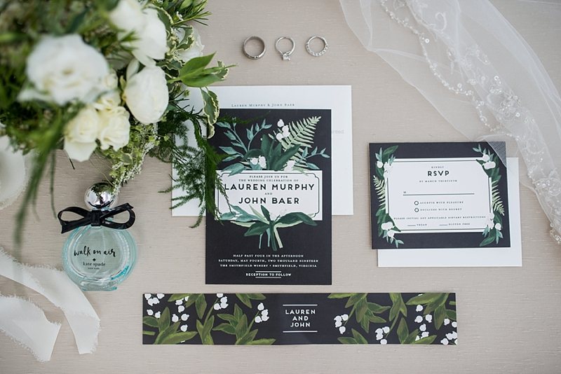 Greenery inspired wedding stationery with black background from Minted