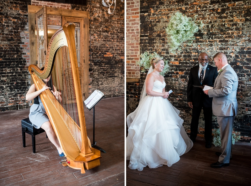 Beautiful indoor rustic wedding ceremony at Smithfield Winery with an altar of babys breath