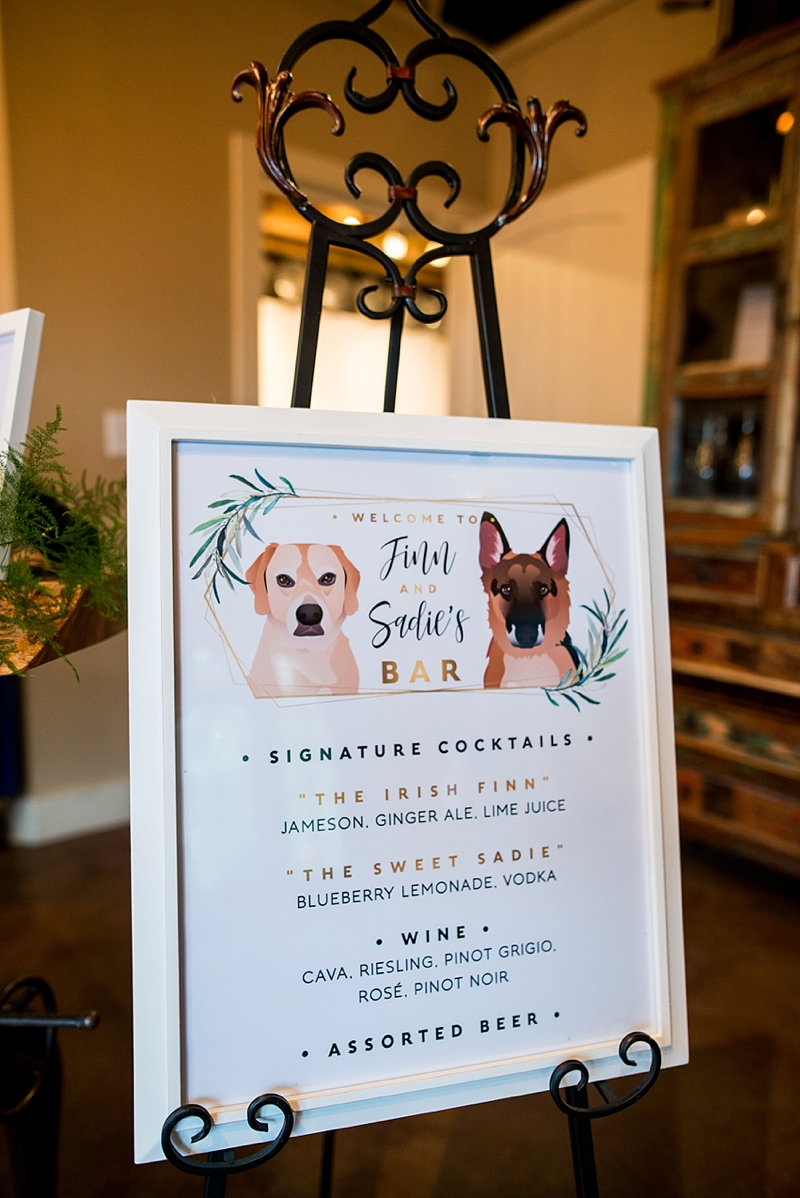 Adorable custom wedding signature cocktails sign with dogs
