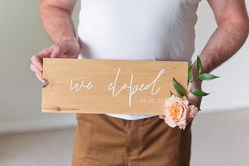 Elegant and chic We Eloped wood wedding elopement sign for coronavirus affected wedding