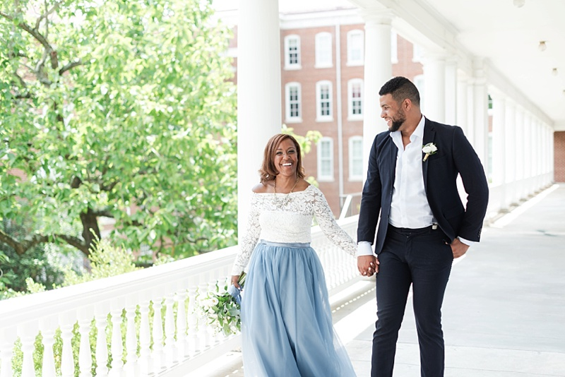 Happy bride and groom wearing relaxed chic wedding outfits at Hotel Weyanoke in Farmville Virginia