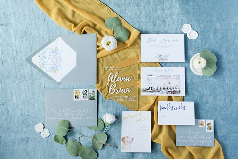Romantic blue and yellow wedding invitation suite ideas with clear acrylic invite and watercolor illustrations