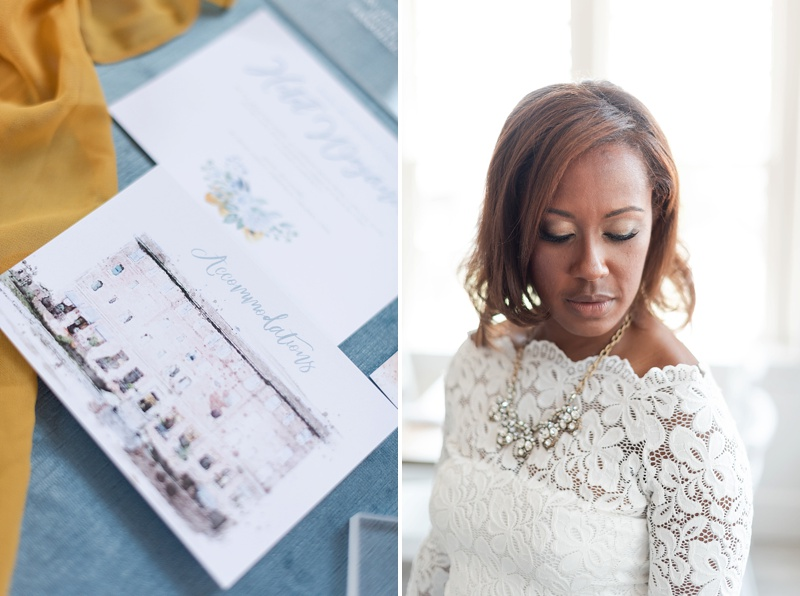 Soft and natural bridal wedding day makeup for Black bride with a gently curled hairstyle