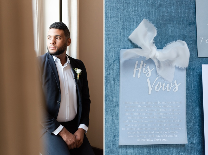 Handsome Black groom portrait ideas at Hotel Weyanoke in Virginia