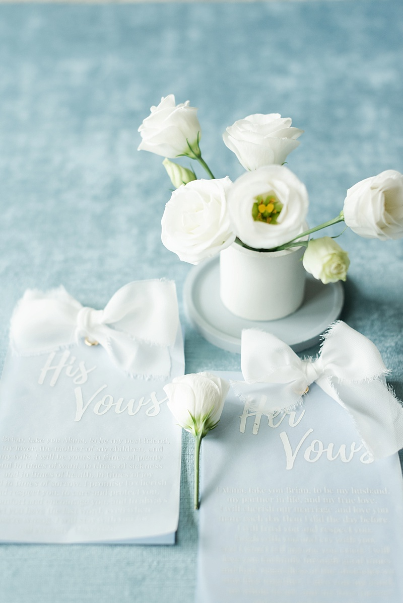 His and Her wedding vow book keepsakes with vellum and silk ribbon