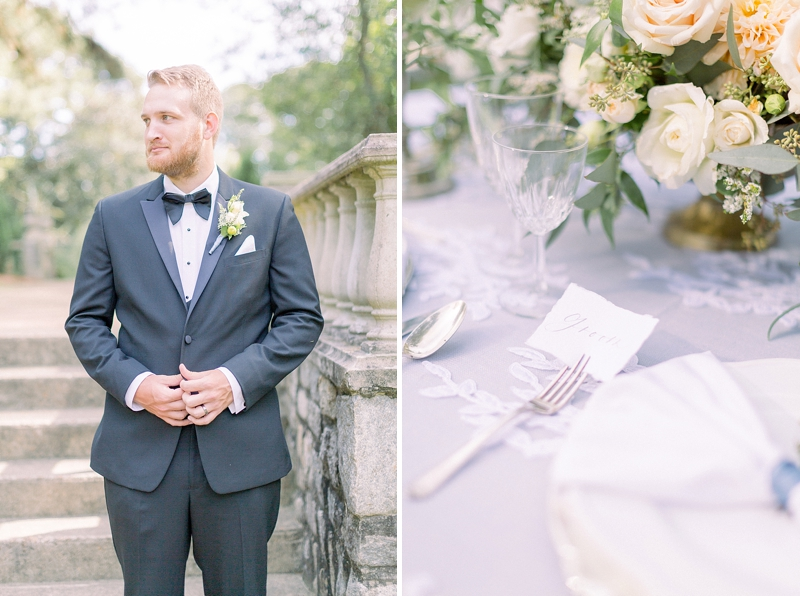 Classic groom style with black bow tie and chic floral boutonniere