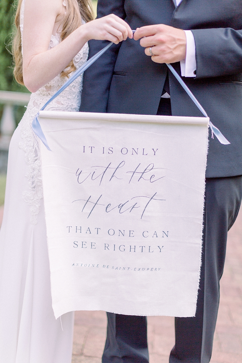 Romantic calligraphy wedding banner for chic garden ceremony portraits in Norfolk Virginia